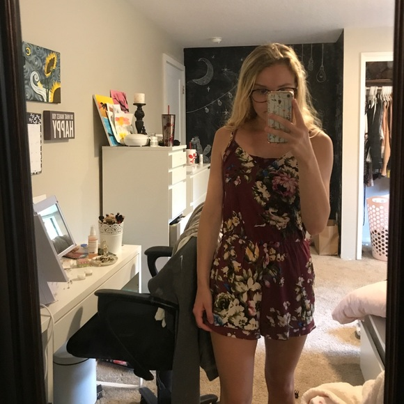 Wet Seal Other - Maroon floral romper